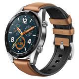 Huawei Watch GT silber mit Leder/Silikonarmband in Saddle Brown